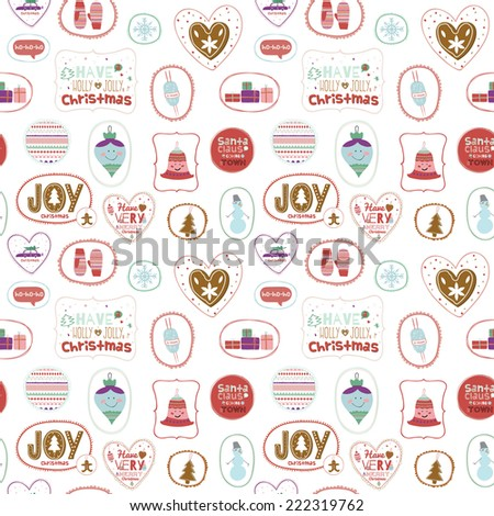 Vintage Christmas and New Year greeting pattern. Vector illustration of gingerbread, toys, snowman, gifts, mittens and other winter elements. Let's joy Christmas. Good for design, cards or posters - stock vector