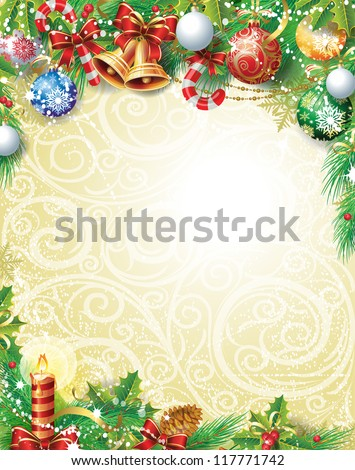 Vintage Christmas background - stock vector
