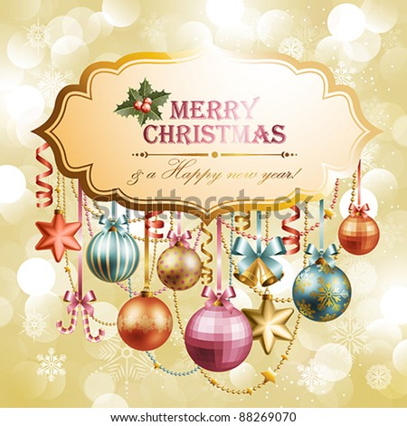 Vintage christmas background with place for text. Vector illustration. - stock vector