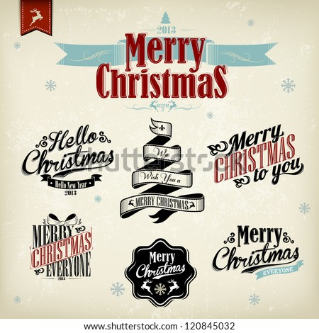 Vintage Christmas Background With Typography - stock vector