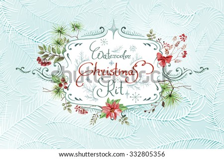 vintage christmas background with watercolor elements - stock vector