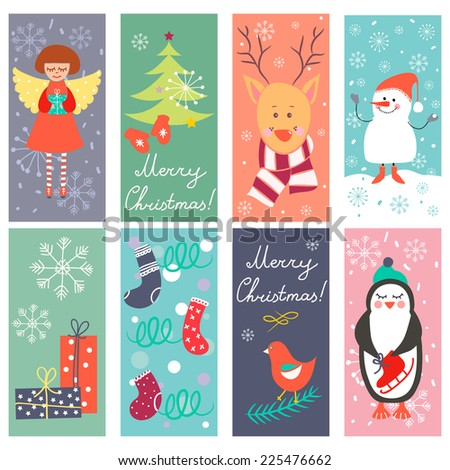 Vintage Christmas banners with funny characters and elements. Perfect for greeting cards, backgrounds.