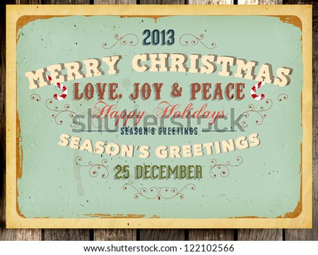 Vintage Christmas Card and grunge background for Xmas invitation design, eps10 illustration, Wood background - stock vector