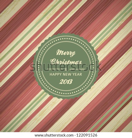 vintage christmas card background with red and green stripes, vector illustration - stock vector