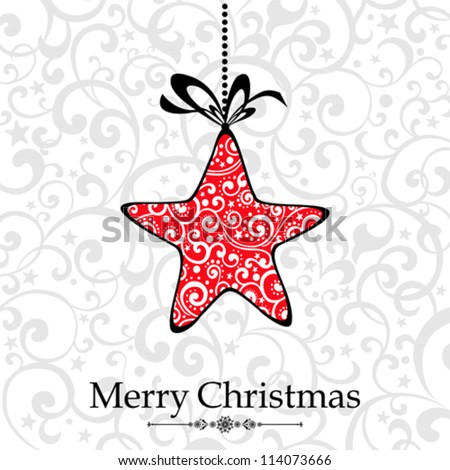 Vintage Christmas Card. Beautiful Christmas Star. Vector Illustration - stock vector