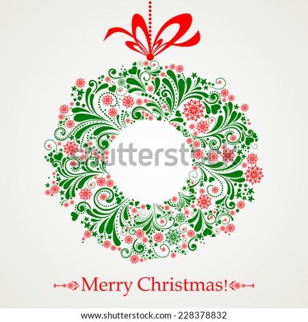Vintage Christmas card. Celebration background with Christmas wreath and place for your text. Vector Illustration - stock vector