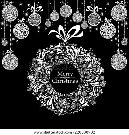 Vintage Christmas card. Celebration black background with Christmas wreath, Christmas balls and place for your text. Vector Illustration - stock vector