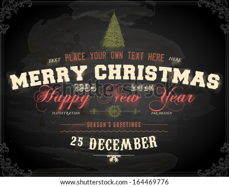 Vintage Christmas Card Design. Chalkboard texture. Chalk Design. - stock vector