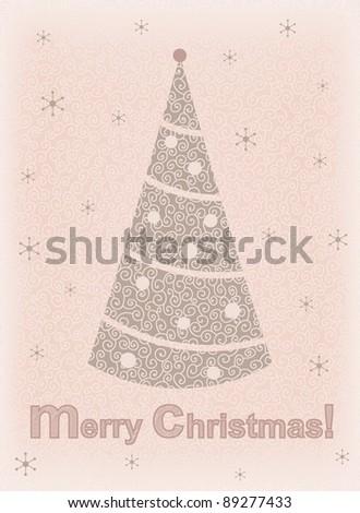 Vintage Christmas card. Hand-drawn, EPS-8. Original author's design. - stock vector