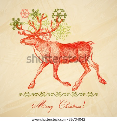 Vintage Christmas card old paper texture - stock vector