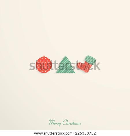 Vintage christmas card with christmas ball, tree, sock.  - stock vector