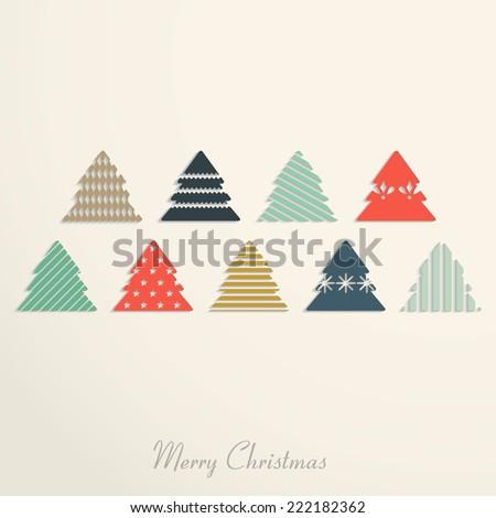 Vintage christmas card with christmas  tree - stock vector