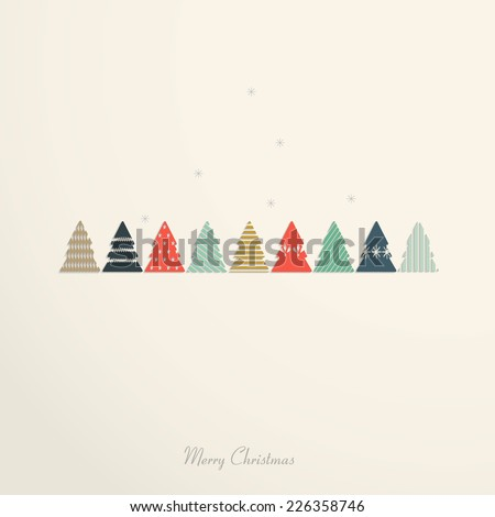 Vintage christmas card with christmas tree - stock vector