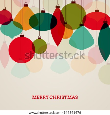 Vintage Christmas card with colorful decorations