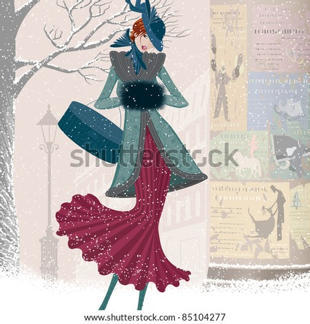 Vintage christmas card with elegantly dressed woman with box walking down the street in blizzard - stock vector