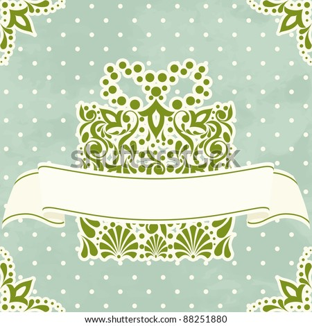 Vintage Christmas card with filigree present (eps10);  jpg version also available - stock vector