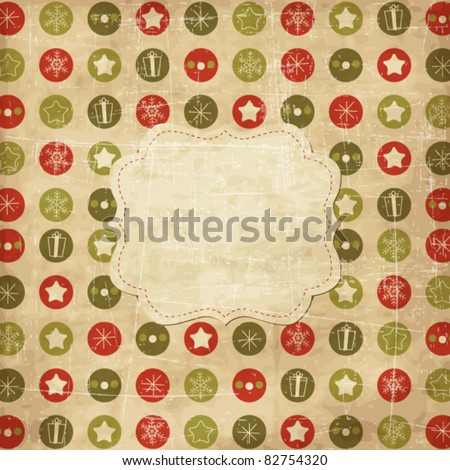 Vintage Christmas card with frame - stock vector