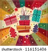 Vintage Christmas card with gift boxes - stock photo