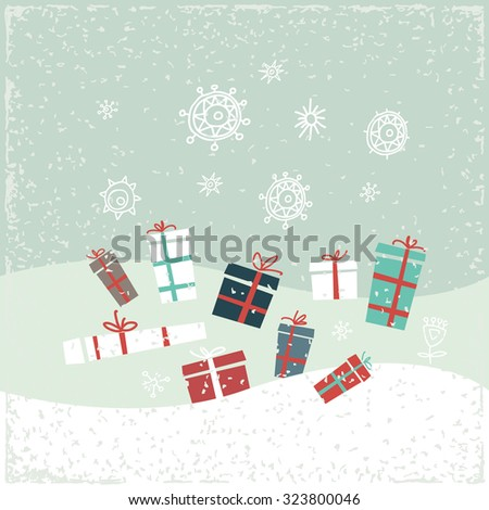 Vintage Christmas card with gifts and snowflakes. Vector illustration. Greeting card.