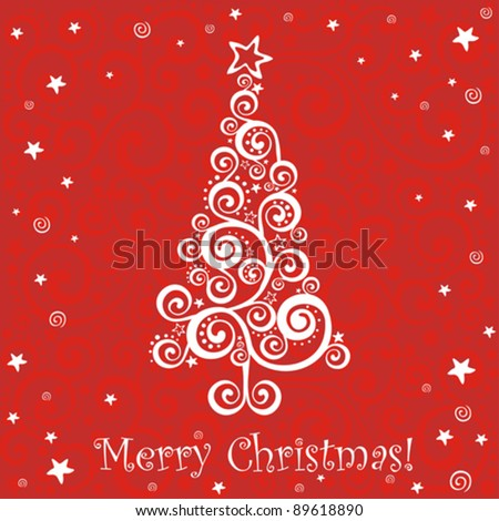 Vintage christmas card with holiday tree. Vector Illustration - stock vector