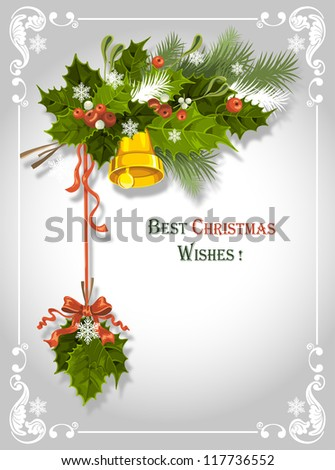 Vintage Christmas card with holly berry and bell - stock vector