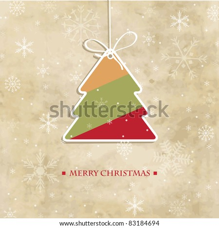 Vintage christmas card with multicolored stripped  tree and snowflakes - stock vector