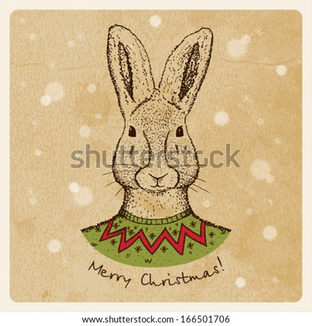 Vintage Christmas card with rabbit - stock vector