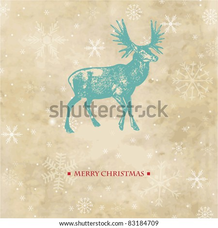 Vintage christmas card with reindeer and snowflakes - stock vector