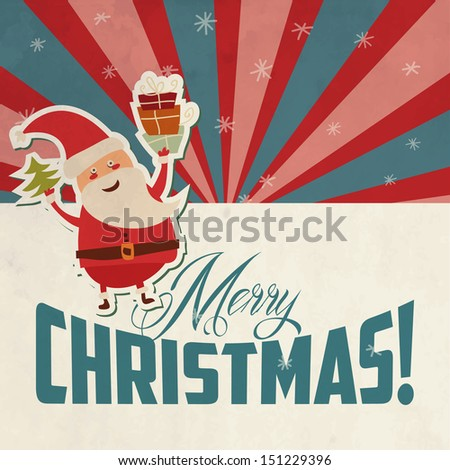 Vintage Christmas card with Santa Claus - stock vector