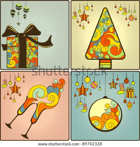 Vintage christmas cards - stock vector