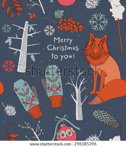 Vintage Christmas elements, fox with trees and mittens. Seamless pattern background. - stock vector