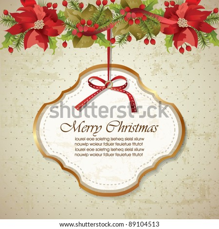 Vintage christmas frame background 03 - stock vector