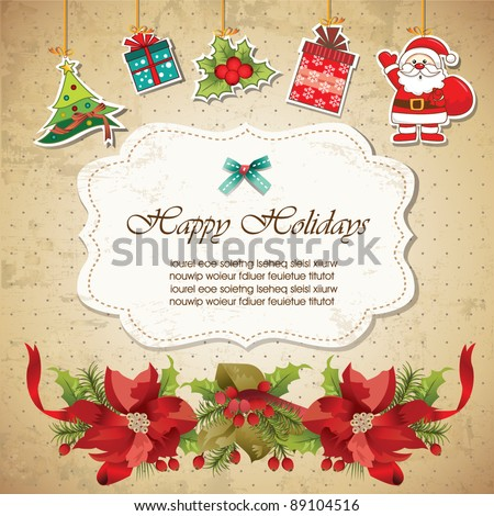 Vintage christmas frame background 02 - stock vector