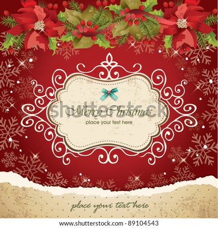 Vintage christmas frame background 07 - stock vector