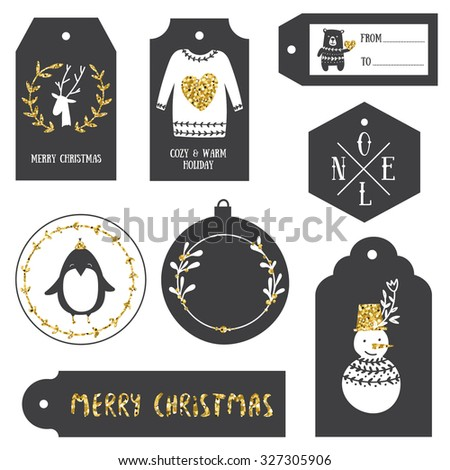Vintage Christmas gift tags. Black and gold. - stock vector
