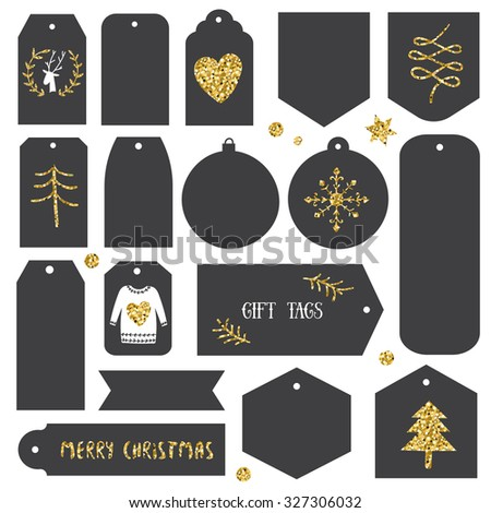 Vintage Christmas gift tags. Black and gold.