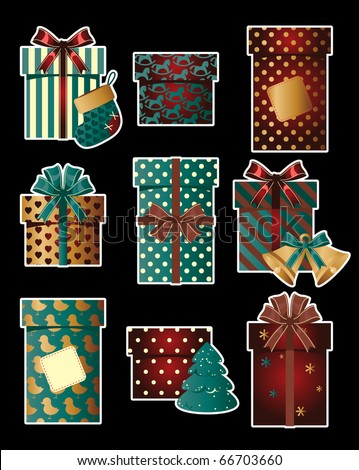 Vintage christmas gifts - stock vector