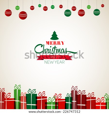 Vintage Christmas Greeting Card - Retro Merry Christmas lettering - vector illustration - stock vector