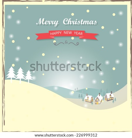 vintage christmas greeting card, vector, can be use for  background, backdrop, wallpaper - stock vector