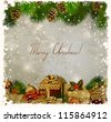 vintage Christmas greeting-card with fir-tree and gifts - stock photo