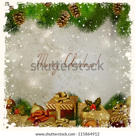 vintage Christmas greeting-card with fir-tree and gifts - stock vector