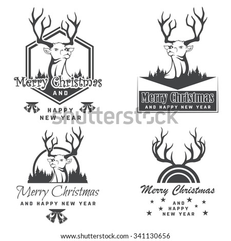 Vintage Christmas greeting card with reindeer - stock vector
