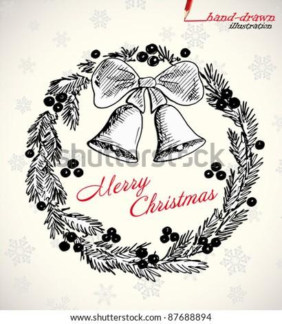 vintage christmas hand-drawn illustration - stock vector