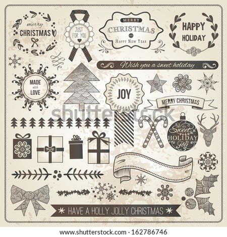 Vintage Christmas Hand Drawn Vector Set: Design Elements and Page Decoration, Vintage Ribbon, Laurel, Label - stock vector