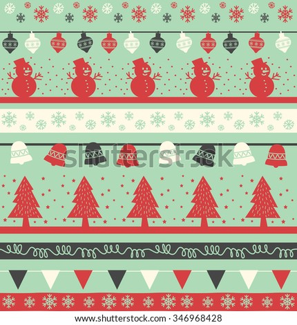 Vintage Christmas Holiday Seamless Background Tree Stock Vector