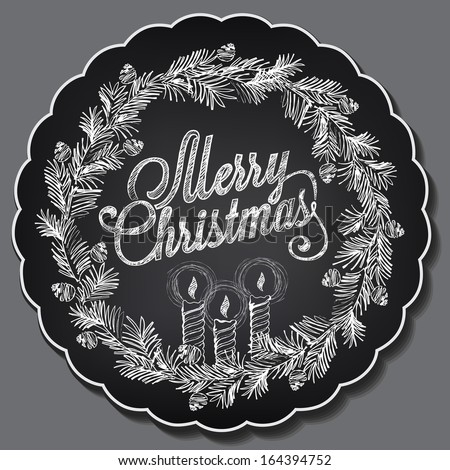 Vintage Christmas illustration. Christmas wreath with candles. Chalking, freehand drawing - stock vector