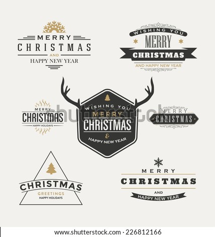 Vintage Christmas Insignia Set - Vector design elements, business signs, labels, badges collection - stock vector