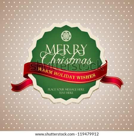 Vintage Christmas Label - stock vector