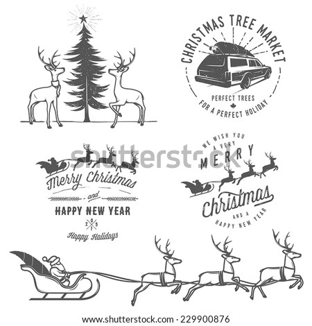 Vintage Christmas labels, badges and design elements - stock vector