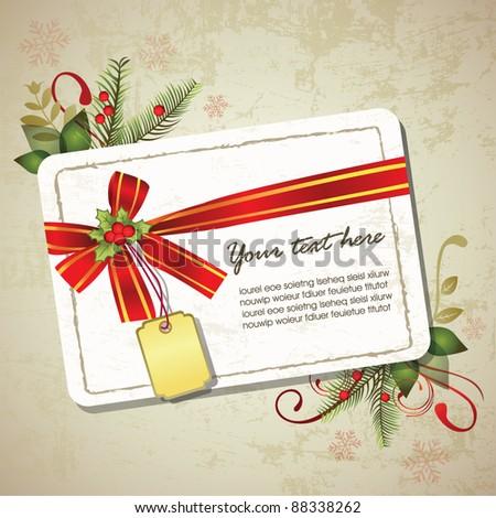 Vintage Christmas memo design - stock vector